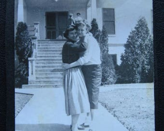 Hugs... 1940's Vintage Photo... Original Vintage Snapshot Photograph