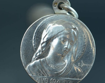 """Ave Maria Vintage Silver Slider Religious Medal Locket by DROPSY on 18"""" sterling silver rolo chain"""