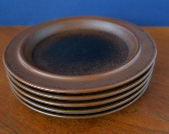 Arabia Ruska breakfast or salad plate, small side plate, Mid Century Scandinavian design, Ulla Procopé, 6 available, brown Ruska plates