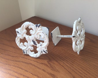 Curtain tie back, drapery tie back, chippy heavy distressing, cast iron, Set of two, shabby chic, soft white