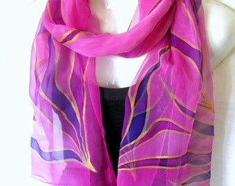 Hand Painted Silk Scarf, Pink Purple Gold, Leaves Silk Chiffon Scarf, Gift For Her, Genuine Handmade