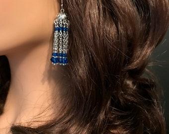 Moroccan Inspired Earrings: Capri Blue Swarovski Crystals
