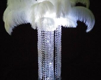 Glamorous Cylinder Crystal Chandelier Large Ostrich Centerpiece Wedding & Special Occasion Centerpiece