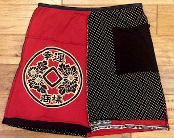 Woman's upcycled skirt, Oriental inspired tshirt skirt, fabric collaged skirt, upcycled clothing, recycled clothing