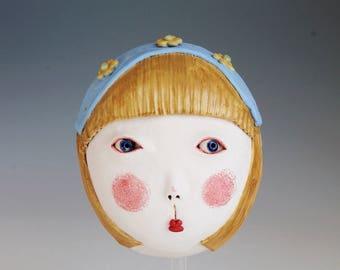 Ceramic mask, Ceramic sculpture, Gretel, Original hanbuilt mask, Stoneware, Ceramic art. Brother Grimm