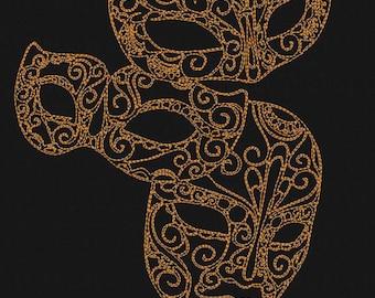 Machine embroidery design 'Mask', Redwork, Vintage