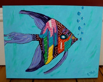 Abstract Fish Print on Canvas