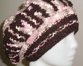 Hand knitted hat woman slouch slouchy hat Gamma phi hat Personalized hat-girlfriend gift