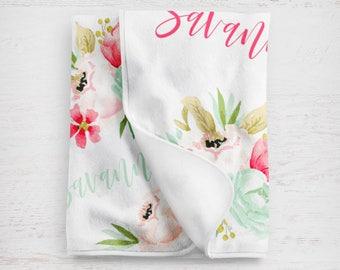 Customized Baby Blanket | Custom Baby Blanket | Baby Shower Gift | Personalized Baby | Blanket | Baby Gift | Name Blanket | Floral Blanket