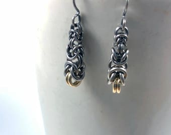Graduated Byzantine Oxidized Sterling Silver with 14K Gold-Filled Earrings Chainmaille
