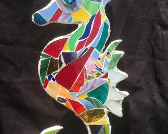 Seahorse Stained Glass mosaic wall decor