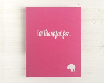 i'm thankful for pressed pocket journal with a buffalo