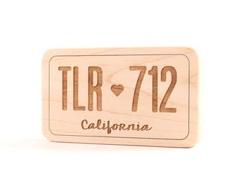 license plate wooden toy - personalized teething toy - safe and natural, organic baby gift for baby boy or girl's first Christmas