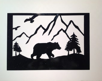 bear, wall decor, unique gift, bear metal art, outdoorsy gift, gift for him, nature lover, nature inspired, man cave, wall hanging, gift