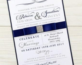 SAMPLE * Georgia Parcel Wedding Invitation Dior Bow Square Diamante