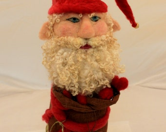 Gnome, Needle Felted Gnome, Garden Gnome, Felted Gnome, Forest Gnome, Felted Santa Gnome # 1985