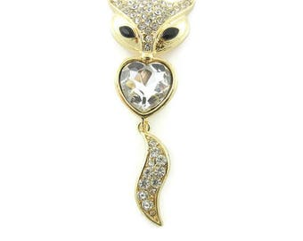 Gold-tone Fox and Heart Pendant Rhinestones