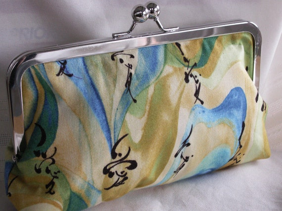 Handmade cotton clutch handbag. Yellow, teal, green, aqua. KANJI by Lella Rae on Etsy
