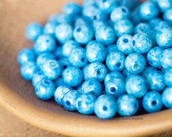 50 Cerulean Blue 4mm Round Druk Czech Glass Beads (N010)