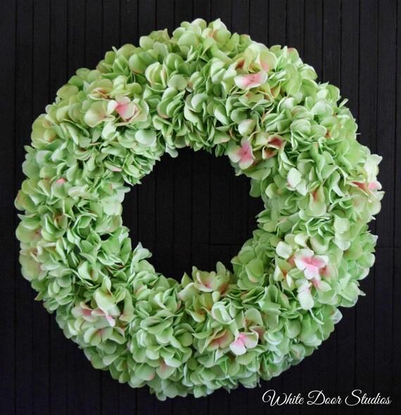 Bright Green Hydrangea Spring and Summer Front Door Wreath