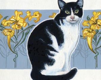 Tuxedo Cat Art, Cat and Gold Flowers, Art Nouveau, Original Oil Painting, Cat Painting, Cat Oil Painting, Art for Cat Lover, Gray Kitchen