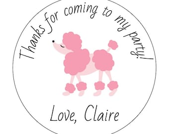 12 Pink Poodle Stickers, Paris Birthday, Tea Time, French Theme, Going Away Party, Poodle Birthday,  Paris Party, Paris Baby Shower