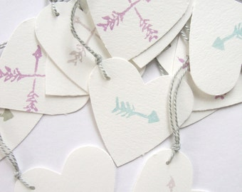 Arrow Parcel , Gift tags, set of 12 hand cut printed white heart and arrow gift tags parcel tags