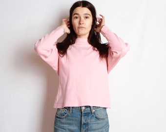 90s mock turtleneck PINK athletic grunge blouse shirt