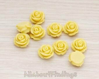 CBC141-01-MU // Mustard Colored Curved Petal Rose Flower Flat Back Cabochon, 6 Pc