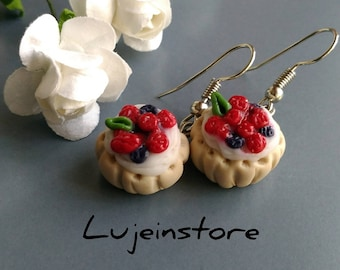 Polymer clay Raspberry And Strawberry Pie Earring, Mini Food Earrings, Miniature food jewelry