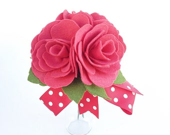 Felt Red Roses  .  Felt Flower Bouquet .  Set of 4 Red Felt Roses . Valentines Day Gift .  Bridesmaid Bouquet . Mothers Day Gift
