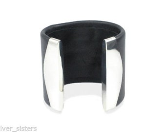 Black Leather Silver Cuff Bracelet 6cm - Adjustable Sterling 925 Silver and Real Leather