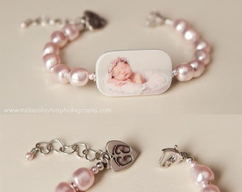 Custom Pearl Bracelet, Photo Charm with Newborn Footprint Charm - P1RaB3