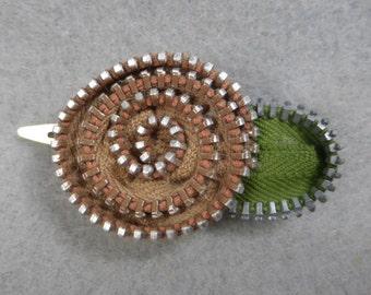 Hair Barrette Clip - Beige Flower, Upcycled, Recycled, Repurposed, Flower Hair Clip, Zipper Barrette, Zipper Flower, Flower Barrette