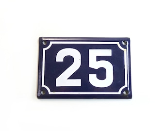 Vintage House Number 25 House number Sign House number Plate French Enamel Number Sign 25 birthday gift
