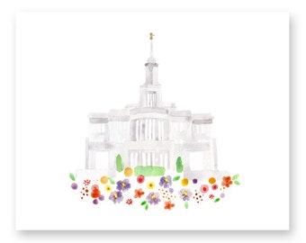 LDS Payson Utah Temple Print - Giclee - Watercolor - gold foil - unframed