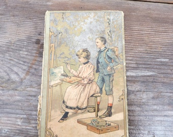 Antique French Victorian chromolithograph cover of book piece