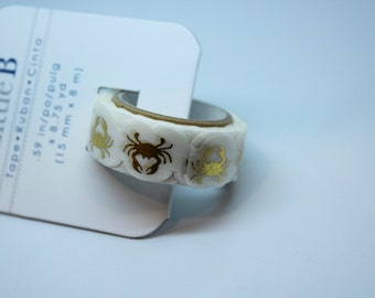 GOLD FOIL CRABS - Foil Tape - 8 3/4 yards - Gift Wrap - Packaging - Paper Tape - Beach party