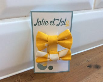 Two hair clips butterfly knot cotton patterned yellow