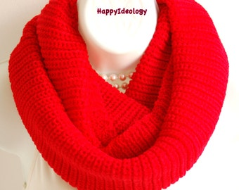 Knit Infinity Scarf.Knitted Red Infinity Scarf. Red Winter Scarves.Fall Winter Scarf.Circle Cowl Chunky Knitted Scarf.Warm Scarf.
