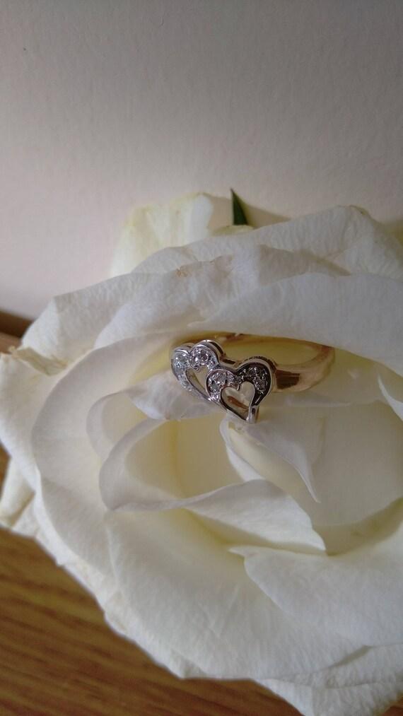 Vintage Unworn 9 Ct Gold Double Heart Ring Uk Size K L