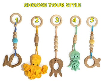 Wooden baby gym toys Ocean theme nursery Activity center hanging baby toys Crochet octopus Plush stuffed animals Accessories play gym mobile