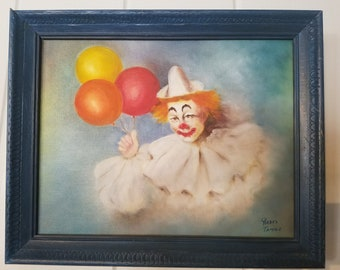 Original Oil painting of Clown with Balloons