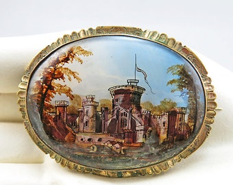 Victorian Antique Brooch Gold Filled And Painted Glass Jewelry Antique Jewellery Antiques Collectibles