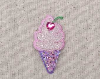 Ice Cream Cone - Pink Stone - Sequins - Iron on Applique - Embroidered Patch - 695554A