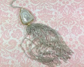 GLASS BEAD TASSEL,  Pearls, Metal, Metallic Fabric, Antique, Vintage Adornment, Embellishment