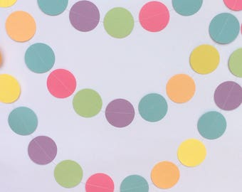 Pastel Rainbow Circle Garland , Decor, Parties, Nursery Decor, Celebrations