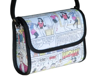 Small crossbody comics magazine, FREE SHIPPING, Upcycled bag, cross body purse, Recycled hipster bag, shoulder bag, sling bag