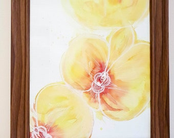 """13.5"""" x 11"""" Yellow Orchid Abstract Art watercolour fine art painting original artwork gift"""