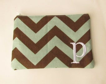 Monogram Make up Bag - P pouch - Ready to Ship - Bridesmaid Makeup bag - Cosmetic bag - Make up Clutch - Monogrammed Gift - Medium